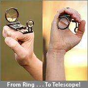 Get this- it's a ring, but then you can fold it out and use it as a telescope or a magnifying glass.  And there's a little magnetic compass in the body of the ring!  This is completely impractical, yet utterly useful if you're adventuring and find yourself in need of a compass, magnifying glass, or telescope. Steampunk at its best!