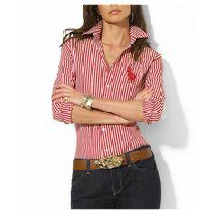 Ralph Lauren Coton Stripe Shirt Femme rouge blanc