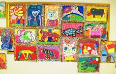 """Pages  Home A Happy Art Room This is Me...    Followers         Tuesday, November 9, 2010""""Fauve Fauves"""" by grade 3     Well. I think we're finally done with Matisse and the fauves, and this may be my favorite project of everything we did with Matisse. The paper was I think 16 x 20"""" (or thereabouts), and I had the students leave a frame of about 1-1/2"""" on the paper. Students practiced drawing African animals by looking at lots of visuals, and the kids each picked one for their painting. They…"""