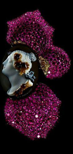 JAR Cameo and Rose Petal Brooch 2011 ~ Cameo, rubies, diamonds, silver, gold