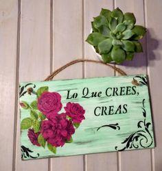 Garden Plaques, Door Signs, Wood Doors, Ideas Para, Signage, Cactus, Flora, My Arts, Lily