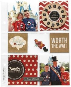 Worth The Wait - Scrapbook.com - Use Simple Stories Say Cheese Collection and Simple Stories 6x8 pocket pages to document Disney trip and photos.