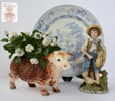 Vintage Country French Hereford Bull / Cow Figurine Planter Relpo 2020 #CountryDecor