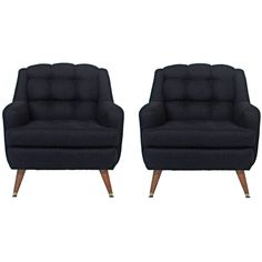 Pair Mid-Century Tufted Lounge Chairs Reupholstered in Black Linen