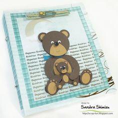 teddy bear and cub punch art - bjl