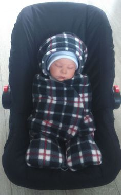 Car Seat Cosy Wrap Swaddle Blanket Grey White Black and Red Tartan Check Take me home outfit* by SiennaChic on Etsy