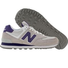 New Balance Womens WL574DPU shoes in grey, purple, and white