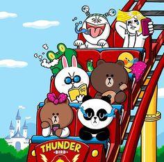 Line friends in amusement park Line Cony, Cony Brown, Cute Couple Cartoon, Kakao Friends, Bunny And Bear, Friends Wallpaper, Line Friends, Little Twin Stars, Line Sticker