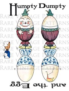 HUMPTY DUMPTY  Cracked EGG Easy To Make by RareVintagePatterns