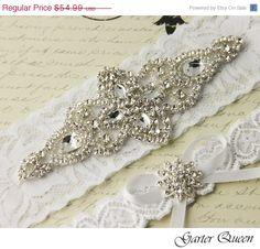 SALE Wedding garter set White stretch lace Bridal by GarterQueen, $49.49