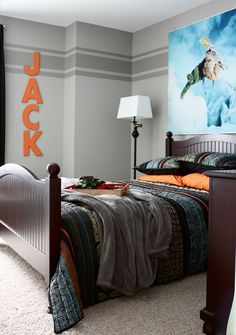 """DS bedroom idea - """"For this project I used two paint colors, a base color (Dorian Gray, Sherwin Williams) and an accent color (Dovetail, Sherwin Williams). These colors are next to each other on the paint swatch card, the accent color being one shade darker than the base color."""" I like this with the orange."""