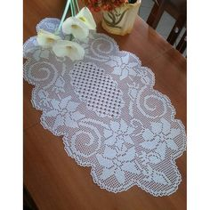 Elegant Floral Motif Filet Crochet Table Center - Crochet Filet