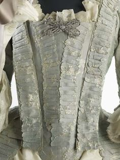 Dress Ensemble | Museum of London silk lustring. 1760s, masses of detail photos  on the site.