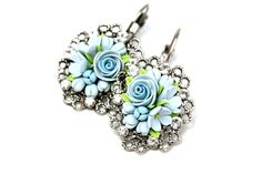 Light Blue Floral Earrings Tenderness Pendant with by KittenUmka