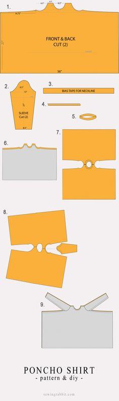 Выкройка пончо из рубашечной ткани (Diy)
