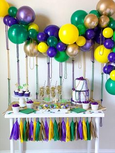 Planning a mardis gras party? Grab some mardis gras beads and balloons and create the perfect tablescape! Mardi Gras Party Theme, Mardi Gras Decorations, Party Themes, Party Ideas, Birthday Party For Teens, Mother Birthday, Blue Birthday, Teen Birthday, Madi Gras
