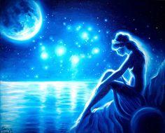 Sappho the moon and the Pleiades by CORinAZONe.deviantart.com on @DeviantArt