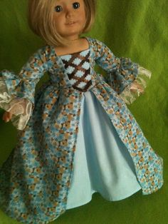 Blue Floral Historical Dress / Doll Clothes fits American Girl doll