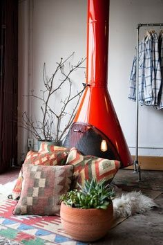 Red fireplace, kilim pillows