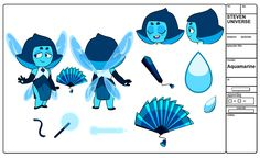 Gemsona design and turnaround sheet commission for They wanted an Aquamarine with a bladed fan as their weapon so I incorporated a chinese theme with the rest of their design as well. Steven Universe Anime, Steven Universe Theories, Perla Steven Universe, Steven Universe Drawing, Universe Art, Harry Potter Anime, Fanart, Art Drawings, Cartoon Drawings