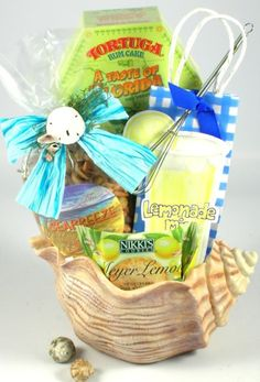 This seashell planter gift is great as a hotel or resort gift basket for guests checking in or as a welcome to the beach gifts. Beach Gift Basket, Mother's Day Gift Baskets, Gourmet Gift Baskets, Basket Gift, Boyfriend Gift Basket, Boyfriend Gifts, Rum Tasting, Beach Gifts, Rum Cake