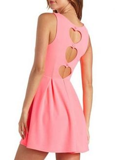 Sweet Cutout Pattern Round Neck Pink Tank Dress