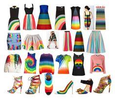 """Rainbow!!"" by froggish2005 ❤ liked on Polyvore featuring RED Valentino, Mary Katrantzou, Sonia Rykiel, Gucci, Aquazzura, Salvatore Ferragamo and Christian Louboutin"