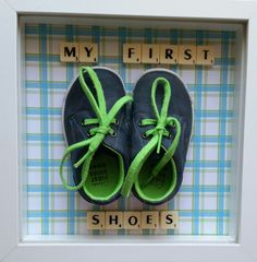 Baby's first shoes memory frame personalised first baby keepsake baby nursery wall decor first birthday frame gift