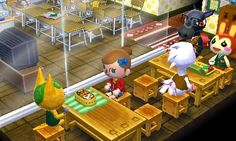 Animal Crossing: Happy Home Designer  It's lunch time at the new school! Though Roscoe's taking a nap instead...