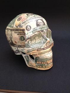 "Title - ""A United State of Dollars by SKOLLTOR. He died a rich man. Vanitas skull sculpture for gallery exhibition and collectors. www.skolltor.com"