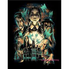 The Addams Family Movie Poster Art Dark Beauty, Horror Art, Horror Movies, Cult Movies, Family Shirt Design, Dibujos Dark, Arte Game Of Thrones, Desenho Tattoo, Classic Monsters