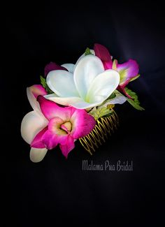 Red Apple Blossom  Silk Flower Hair Comb,Hawaiian Luau,Rockabilly,Dance,Bridal