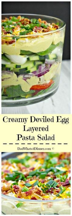 This delicious Creamy Deviled Egg Layered Pasta Salad recipe combines deviled eg.- This delicious Creamy Deviled Egg Layered Pasta Salad recipe . Best Pasta Salad, Pasta Salad Recipes, Recipe Pasta, Stuffed Sweet Peppers, Holiday Dinner, Deviled Eggs, Everyday Food, Couscous, Soup And Salad