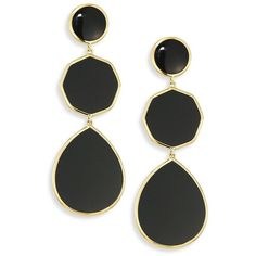 IPPOLITA Polished Rock Candy Black Onyx & 18K Yellow Gold Crazy 8s... (17 645 ZAR) ❤ liked on Polyvore featuring jewelry, earrings, gold drop earrings, gold tear drop earrings, gold earrings, round earrings and 18k gold earrings