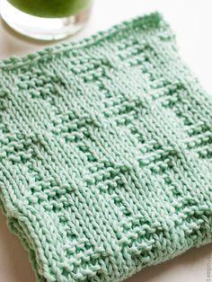 Mintgrøn karklud med firkantmønster Knit Dishcloth, Knit Or Crochet, Simple Living, Pot Holders, Diy And Crafts, Homemade, Blanket, Pillows, Knitting