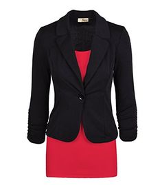 Women's Casual Work Office Blazer Jacket JK1131 Black 2X Plus ** Find out more about the great product at the image link. This is an affiliate link.