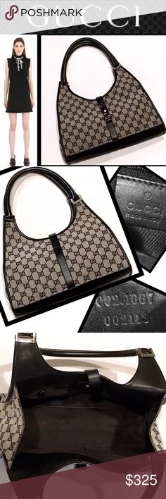 """GUCCI Classic 'Jackie' Shoulder Tote Bag Classic authentic black and off-white 'Jackie' shoulder tote in excellent condition.  Just a few minor scrapes to the leather edges. Serial I. D. #002-1067 2113. Measures 12"""" wide (bottom), 9.5"""" (top) x 6.5"""" high (center), 10"""" (sides).  Strap drop is 8.5"""". Gucci Bags Shoulder Bags"""