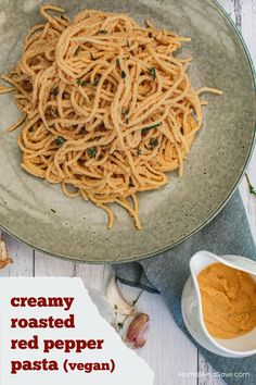 Vegan Cashew Pasta Sauce with Roasted Red Pepper (Serve Over Your Favorite Pasta) #vegan #recipes #dinnerrecipes #glutenfree #veganrecipes #glutenfreerecipes