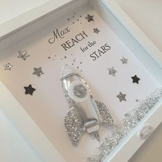 A stunning monochrome style glitter rocket with Reach for the stars wording Can be personalised Wording can be altered Reach for the stars print in a Diy Shadow Box, Shadow Box Frames, Box Frame Art, Box Art, Christmas Gifts For Grandma, Christmas Diy, Biscuit, 3d Frames, Frame Crafts