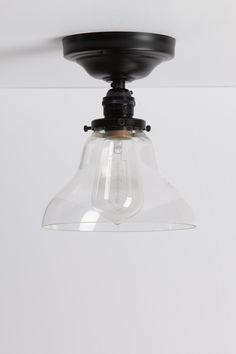 Clear Glass Bell Shade Ceiling Light - Black Base
