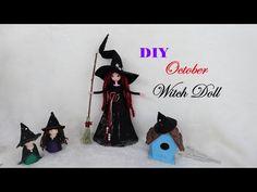 DIY October Witch Doll | BB Phù Thủy Tháng 10 | Huong Harmon - YouTube Diy Angel Dolls, Fairy Dolls, Fairy Crafts, Doll Crafts, Halloween House, Halloween Crafts, Diy Angels, Wood Peg Dolls, Doll Tutorial
