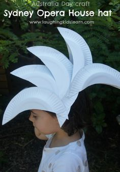 Fun Australia Day craft is making a Sydney Opera House hat made from paper plates - Laughing Kids Learn