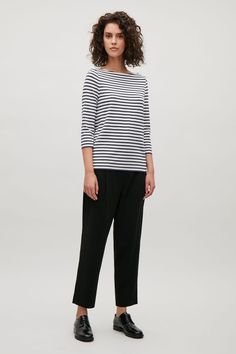 COS image 14 of Striped jersey top in Dark Navy