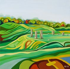 Avebury from  the hill where the large beech trees are,  Anna Dillon.