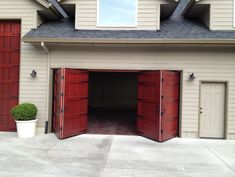 Architects and designers are setting new trends by specifying architectural bi fold garage doors. The attention getting bi fold garage door designs in high-end Garage Doors For Sale, Garage Door Windows, Diy Garage Door, Overhead Garage Door, Garage Door Makeover, Garage Door Design, Garage Door Opener, Garage Ideas, Swing Out Garage Doors