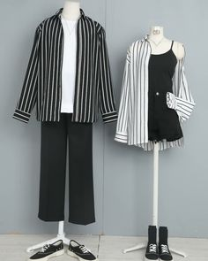 Matching Couple Outfits, Twin Outfits, Edgy Outfits, Classic Outfits, Korean Outfits, Cool Outfits, Korea Fashion, Asian Fashion, Punk Fashion
