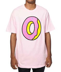 c7aea4c3cff Get a bright new OFWGKTA style with a tagless pink pastel colorway that  showcases a pink and yellow Odd Future donut logo graphic on the chest.
