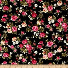 Corduroy Pink/Whiter Roses on Black from @fabricdotcom This soft, lightweight 21 wale (number of cords per inch) corduroy is classic, durable and versatile. It is perfect for creating stylish shirts, skirts, dresses, light weight jackets and children's apparel. Colors include black, pink, green, and cream.