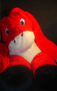 "Red Donkey Stuffed Plush Animal Huge Large 35"" Tall Toy"