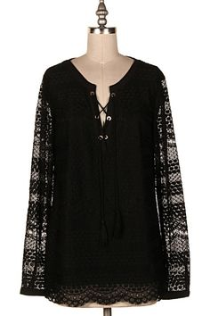 LACED UP SHEER LACE BLOUSE  #4O-COY0016 − Pre-Order
